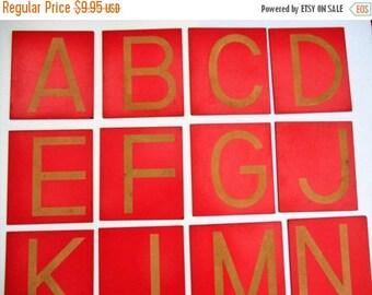 SALE 20% OFF 23 Vintage Tile Letters...Capital Upper Case Letters, Alphabet ABCs, School Homeschool Classroom, Coral Rustic Beachy Decor