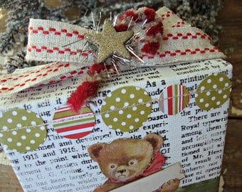 Vintage Christmas Teddy Bear Newsprint Box Sign with Silver Star and Peppermint Candy Cane