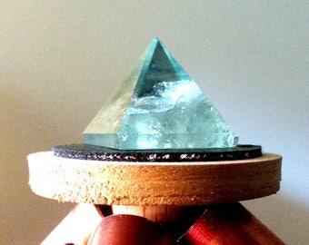 Green Fluorite Capstone for Copper Pyramid