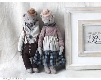 Couple of Bears Teddy HANS and HELGA and  9 inch OOAK 22 cm