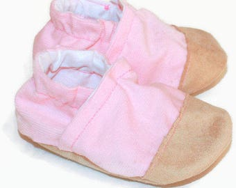 Pink baby girl shoes girl booties pink baby booties vegan baby shoes little girl shoes corduroy soft sole shoes