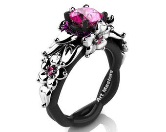 Nature Inspired 14K Black and White Gold 1.0 Ct Pink Sapphire Floral Engagement Ring R460-14KBWGPS