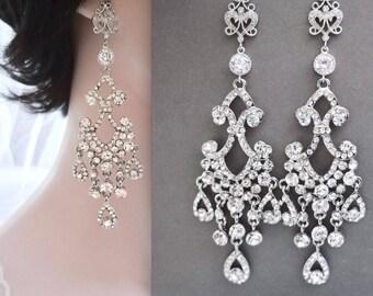 "Chandelier earrings, 4"" Long, Rhinestone wedding earrings,Sterling posts, Brides earrings, Crystal statement wedding earrings, ABRI"