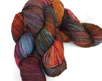 Malabrigo Rios yarn, color Liquidambar, rust, teal, #618, superwash knitting yarn worsted weight