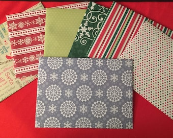 Handmade Christmas Winter design envelopes- set of six
