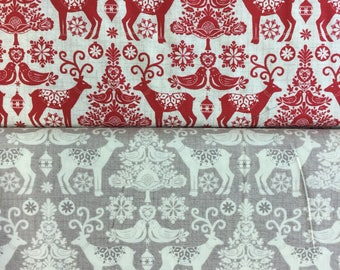 Makeower 1476 Scandi 2 Reindeer in Taupe or Red 100% Cotton Fabric by the Half Metre