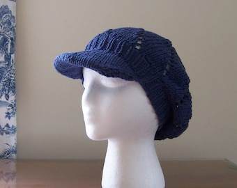 Chemo Hat Newsboy Style, Knit from Cotton Yarn in Marine Blue, Cancer or Chemotherapy Patient Gift, Soft and Comfortable, Ready to Ship