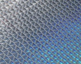 Holographic Triangles Spandex Fabric by the yard - Silver/White