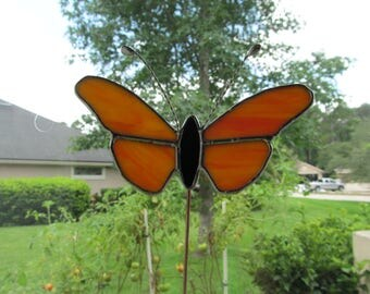 Yellow and Orange Large Stained Glass Butterfly Plant Stake - Memorial Marker - Garden Stake - Twisted Wire Antenna - Two Available