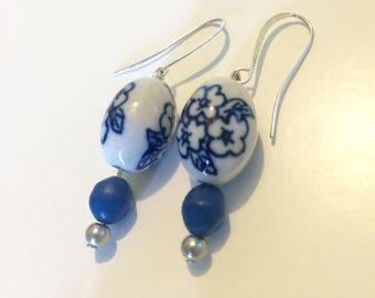 Vintage Blue Floral Earrings