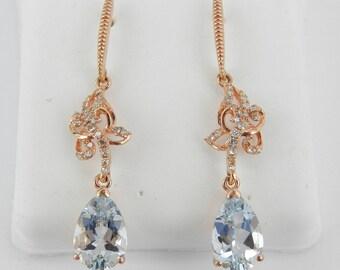 Diamond and Aquamarine Dangle Drop Earrings Rose Pink Gold Aqua March Gemstone