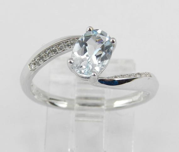 Diamond and Aquamarine Bypass Engagement Ring March Aqua White Gold Size 6.75