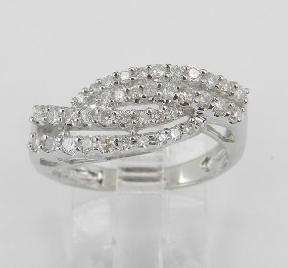 14K White Gold Diamond Crossover Wedding Ring Anniversary Band Size 6