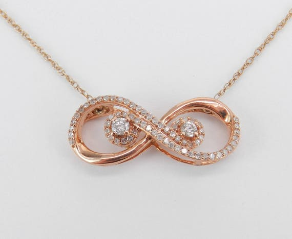 "Rose Gold Diamond Infinity Necklace Pendant 18"" Chain Wedding Gift"