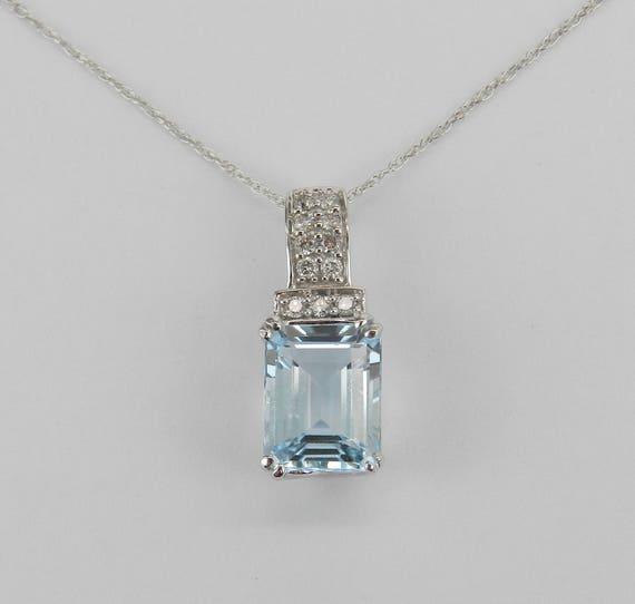 "Diamond and Emerald Cut Aquamarine Pendant Necklace 14K White Gold 18"" Chain Aqua March Gemstone"