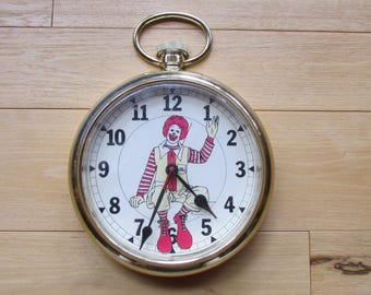Ronald McDonald Pocket Watch Wall Clock 1978