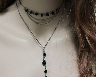 Lariat Necklace, Black Beaded Open Y Necklace, Dainty Chain Backdrop Necklace