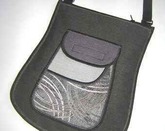 Medium Crossbody Bag with front iPhone 6 plus pocket Handmade Haversack elegante sling bag Cute Bag mix fabrics in gray black silver