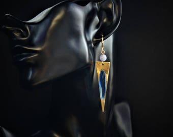 Blue triangle earrings, blue dangle earrings, blue crystal earrings, blue futuristic earrings, blue geometric earrings, blue gold earrings