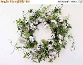 WREATH SALE Farmhouse Decor - Summer Wreath - Cotton Boll Wreath - Spring Door Decor - Farmhouse Wreath - Rustic Wreath - READY To Ship - Fr