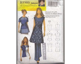Womens Top Pattern in Three Lengths Bust 34-43 Pull On Blouse 3 Styles Butterick 5503 B5503 Modern Fit Ready to Wear Sizing Sewing Pattern