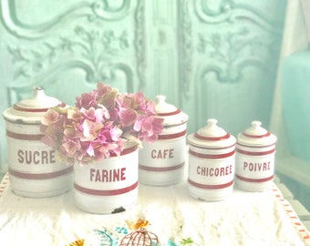Vintage Set of 5 French Enamelware Canisters - French Farmhouse Decor