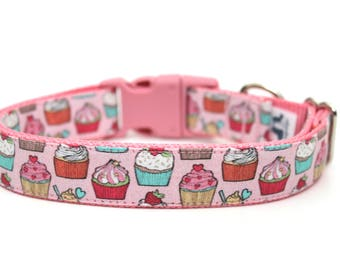 "Cupcake Dog Collar 3/4"" or 1"" Birthday Dog Collar Cupcakes Dog Collar"