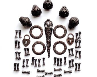 Assorted Samples, Over 50 Pieces, Assorted Beads, Dog Bone Beads, Filigree Tear Drop, Rusted Iron, Jewelry Making, B'sue Boutiques,Item03474