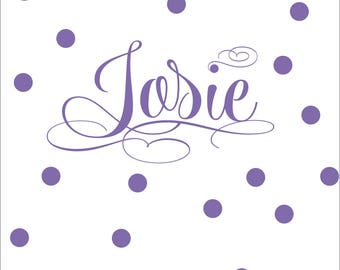Personalized Name Fancy Cursive Script Vinyl Wall Decal with Polka Dot Add-On | Fancy Pants Design