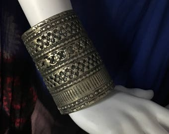 Vintage Afghanistan KUCHI Pashtun Filigree Heavy Brass CUFF Bracelet Tribal Belly Dance Uber Kuchi®