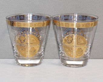 Vintage, Pair of Culver Coronet Double Old Fashioned Glasses