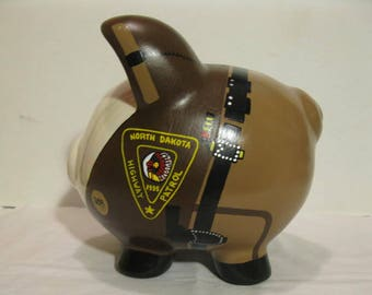 """Police Piggy Bank, Personalized, Police State Trooper """"Pigs"""" Piggy  Banks - Large - MADE TO ORDER"""
