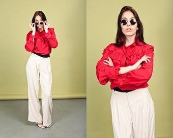 80s Cream Rayon Pants Vintage Black High Waisted Formal Trousers