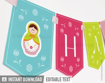 Matryoshka Party - Banner - Babushka Party - Russian Doll - INSTANT DOWNLOAD - Printable PDF with Editable Text
