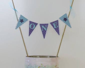 Purple & Blue First Birthday Cake Bunting - ONE Smash Cake Topper - Polka Dots, Stars
