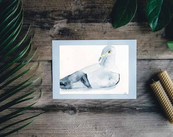 Print of Watercolor painting, Sitting pigeon, unmounted, wall ready. abstract,wall art, desk art, kitchen, Wall Decor, Home Decor,bird