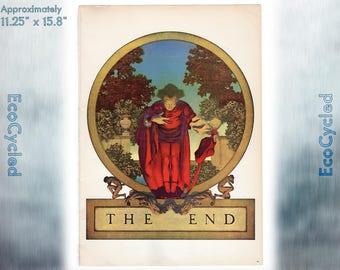 Maxfield Parrish Vintage Poster Print The End book lover art print ready to frame print vintage art print Paper Ephemera Book Page z47