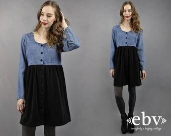 Velvet Babydoll Dress Denim Babydoll Dress 90s Babydoll Dress 90s Mini Dress 1990s Dress 90s Dress 90s Denim Dress Denim Mini Dress L XL