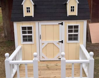 Outdoor playhouse with porch-playhouse-kids-outside-wood playhouse-shingled- & Kids playhouse | Etsy