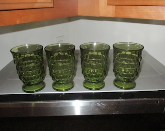 Vintage Set of Four Green Geometric Juice Glasses By The Indiana Glass Co.