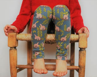 Kids leggings grey sloth unisex childrens clothing 1-10yrs printed cotton jersey babies boys girl stretch pants baby comfy knit toddler