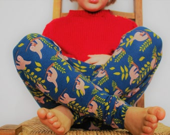Baby leggings unisex childrens blue sloth print fabric cotton jersey boys girl animal kids sloths stretch pants baby comfy knit toddler