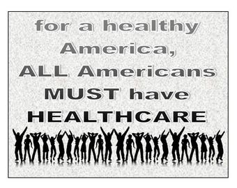 digital download postcard -- healthcare postcard, for a healthy America, make your own postcards, cards, stickers, t-shirts,