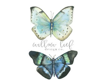 Butterfly Duo, Insect Print, Butterfly Print, Wall Art , Wall Print, Easter, Watercolor Print, Nature Prints