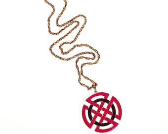 Crown Trifari Modernist Medallion Necklace, Pink, Purple, and Gold, 1960s Era