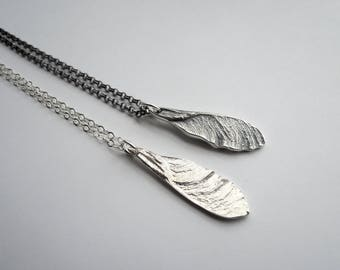 NEW double sided - Delicate Maple Seed - Delicate Samara Sycamore Necklace - Sterling Silver 925 - Handmade to Order