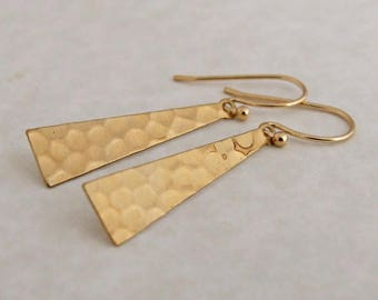 Brass Triangle Earringsw .. hammered earrings