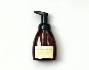 Lavender mint liquid foaming hand soap, 8 oz, made with organic oils.  Kitchen soap, bath soap, guest bathroom. Essential oil soap
