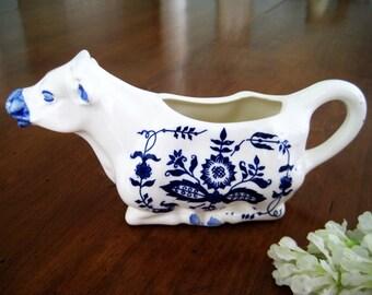 Vintage Resting Cow Creamer, Japan Blue Delft Blue Onion Pattern, White Ceramic, Excellent
