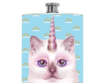 Unicorn Party Funny Cat Flask Drinking Gifts Womens Gift Geekery College Girl Girlfriend Kitty Accessories Costume Bridal Party Bachelorette